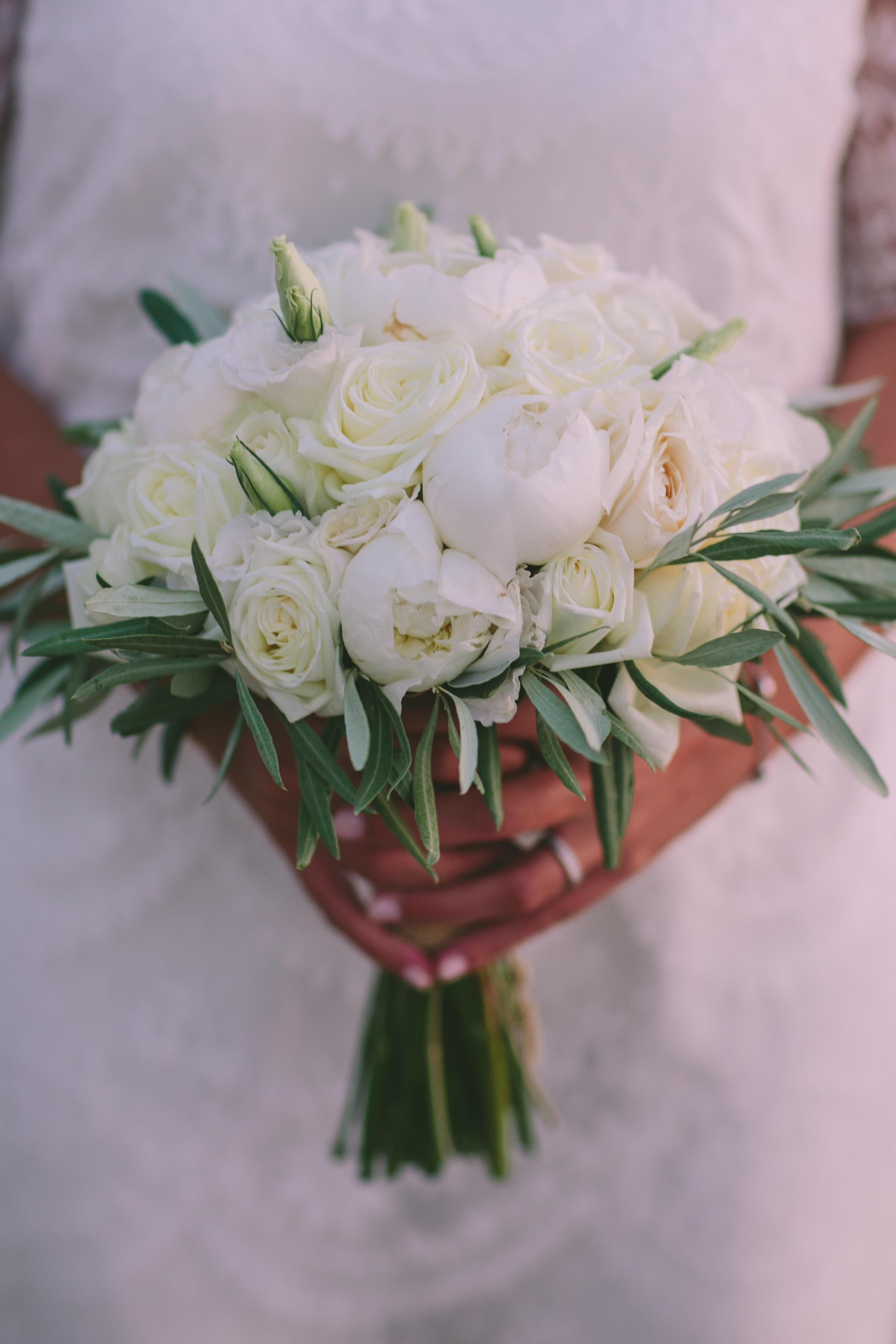 Bridal bouquet peonies destination wedding in Greece