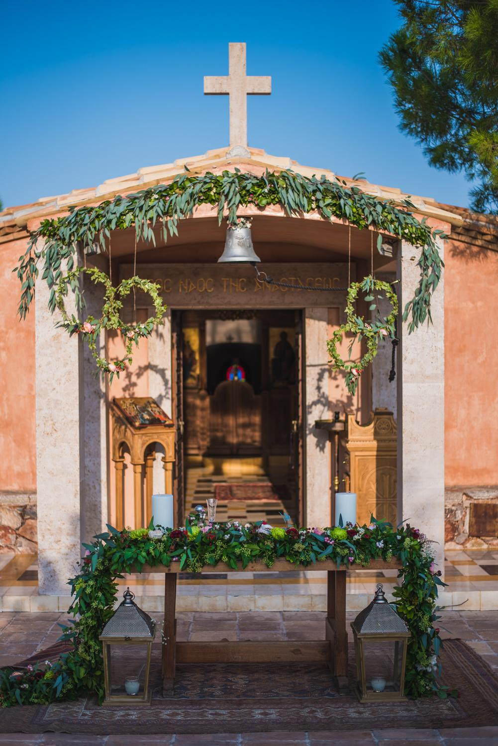 Marsala wedding in Greece's countryside ceremony decor