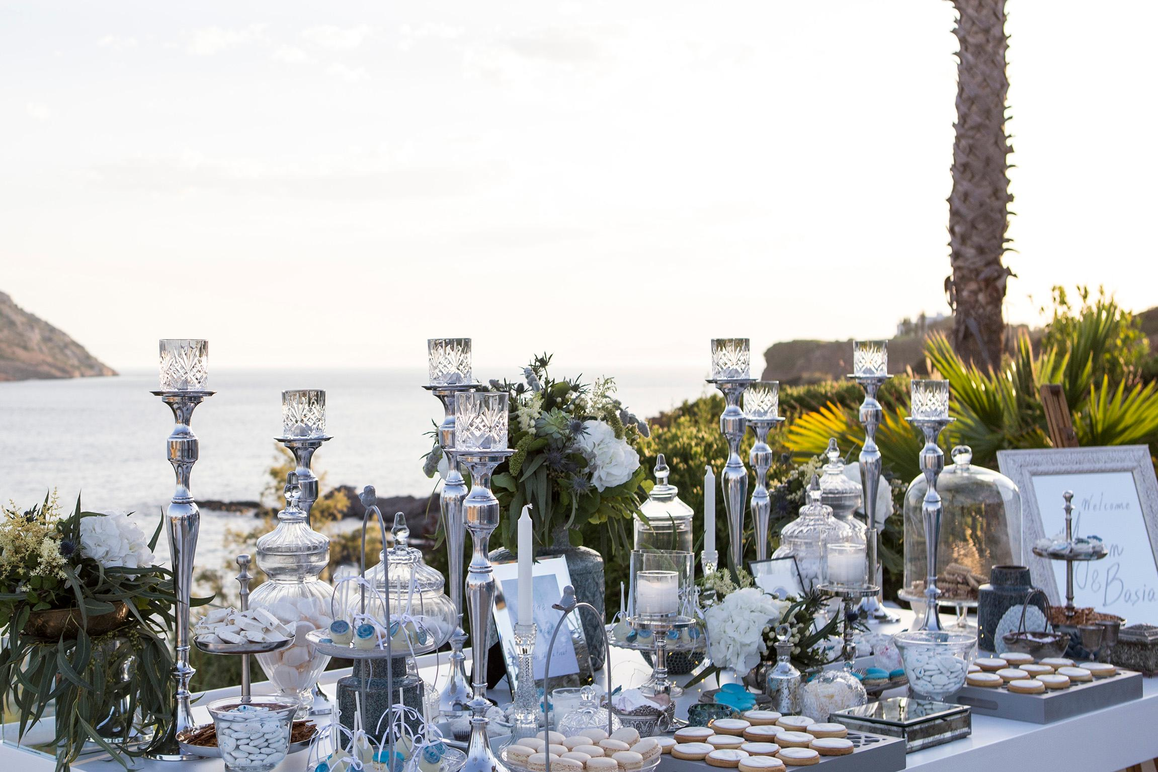 Dusty blue seaside destination wedding on the Athens Riviera