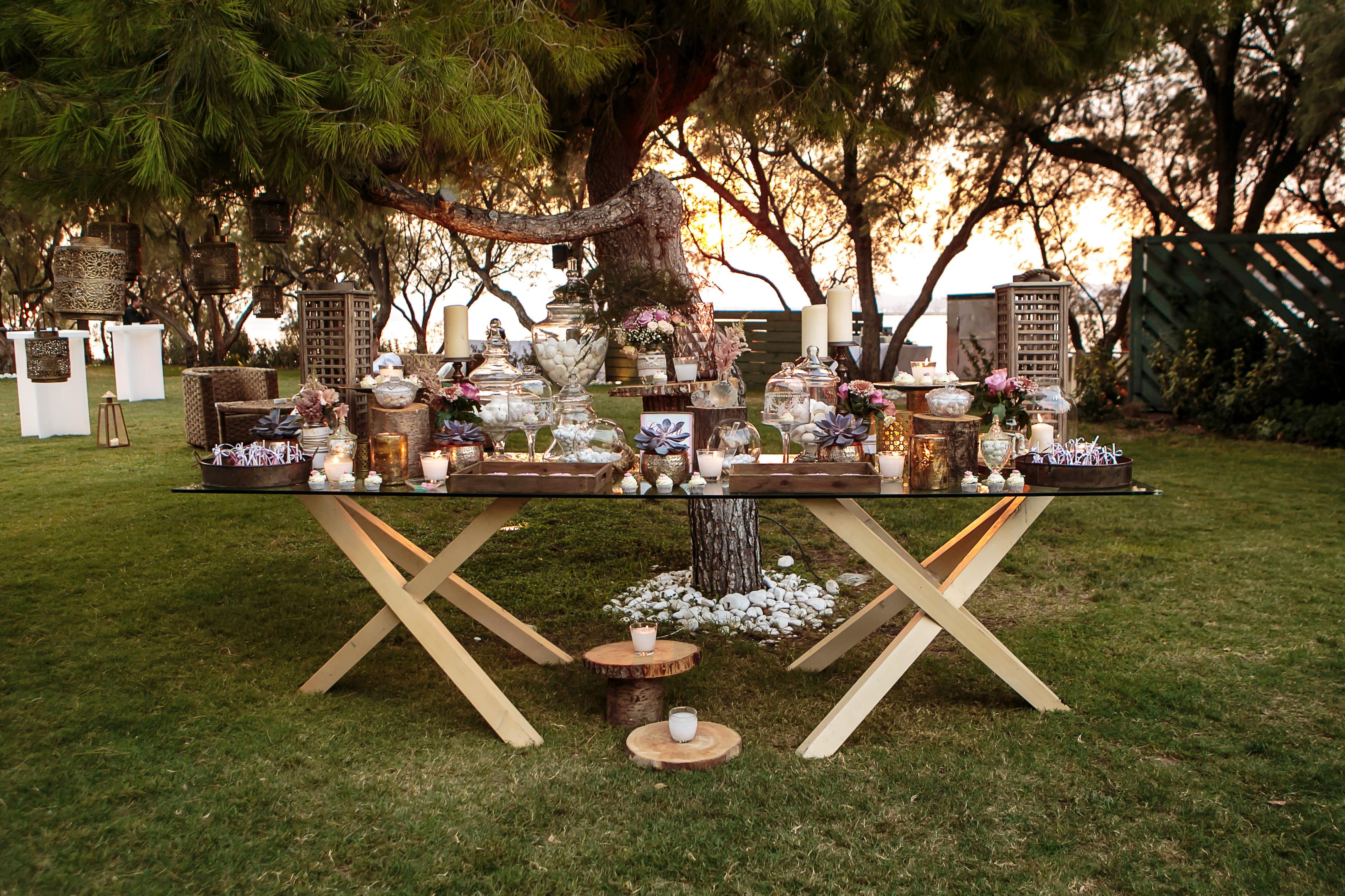 Romantic candy bar destination wedding on the Athens Riviera in Greece